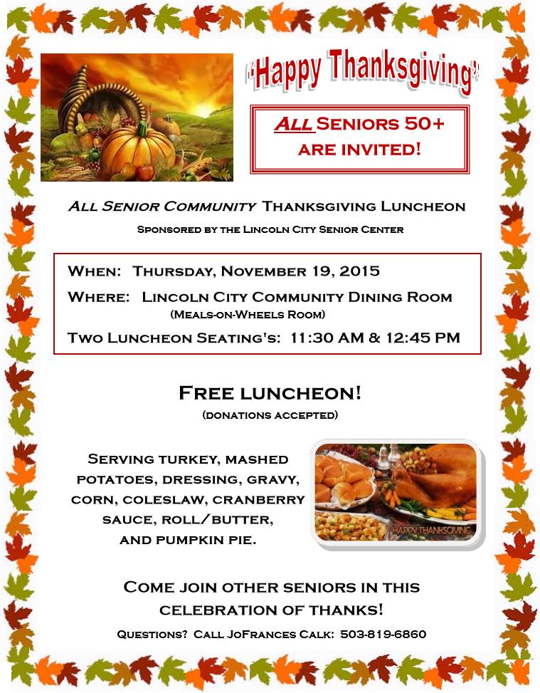 All Senior Thanksgiving Luncheon 2015
