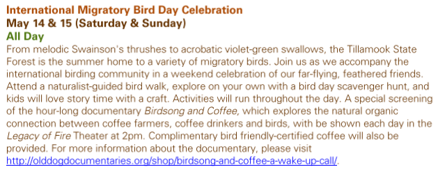 Tillamook Forest Center International Migratory Bird Day Celebration May 14 and 15