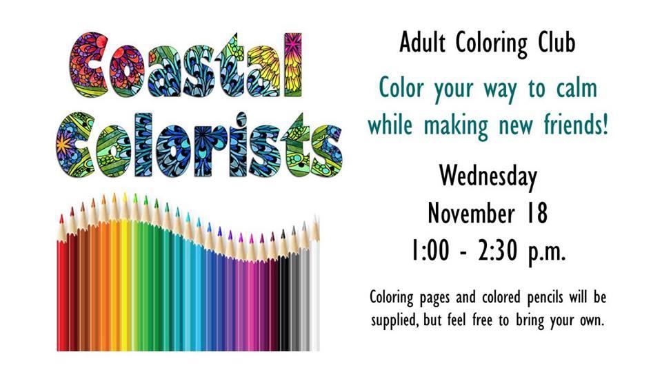 Coastal Colorists Adult Coloring Club Newport Public Library