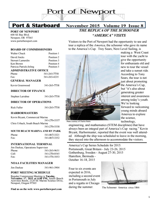 Port of Newport November 2015 Newsletter 1