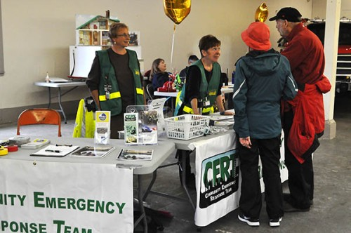 Members of the Seal Rock Community Emergency Search Teams talked to the public about preparedness during the emergency fair at the Lincoln County Fair Grounds Saturday. After a natural disaster, CERT volunteers are neighborhoods' first responders. (Photo by Larry Coonrod