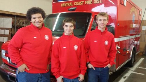 WHS students in the Cadet Firefighting Program are, from left, Jonah Land, Blake Bittick and James Henderson. Kira Shadden not pictured. (courtesy photo)