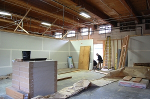 Inside one of the two new classrooms being created out of the former Taft Elementary mat room (courtesy photo)