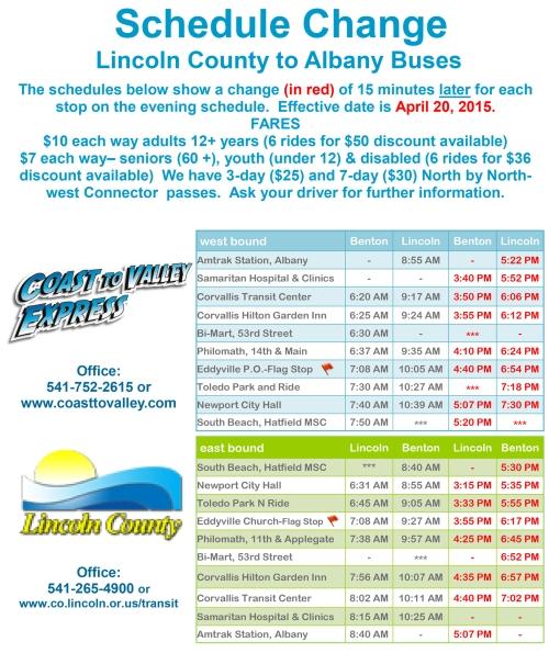 Coast to Valley Express Bus Schedule(Update)4.20.15