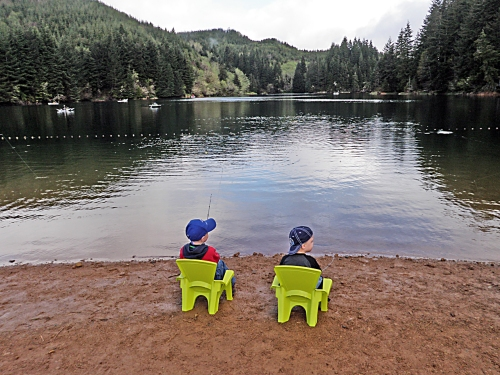 Two young anglers fishing at Olalla Reservoir.