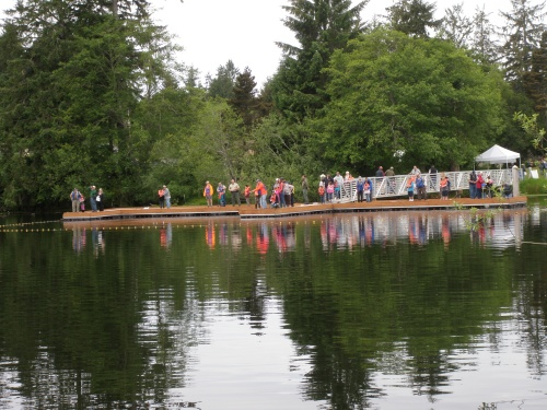 The 2014 fishing event at Eckman Lake on the new dock funded by an ODFW Restoration and Enhancement grant with help from the Oregon Parks and Recreation Department.