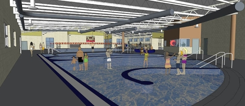 A conceptual drawing of the Newport Aquatic Center scheduled to be built in 2016. The city is exploring its options after construction bids opened this week came in several hundred thousand dollars over budget. (Graphic: City of Newport)