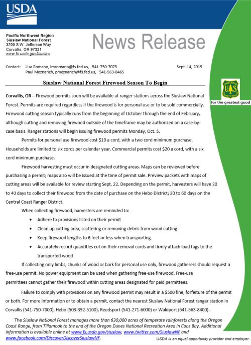 Siuslaw National Forest Firewood Permits